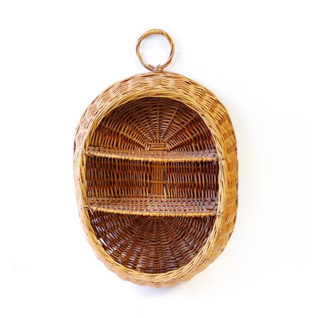 Image of Vintage Boho Wicker Basket Shelf
