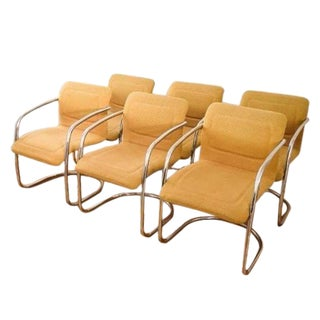 Cantilevered Tubular Chrome Chairs - Set of 6