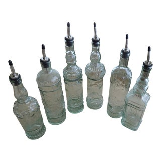 Vintage Heavy Glass Bottles - Set of 6