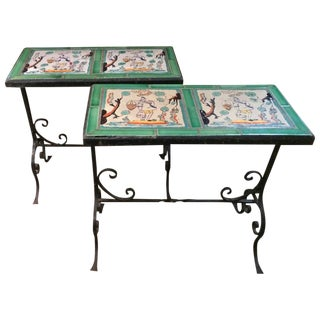 Dutch Tile and Wrought Iron Side Tables - A Pair