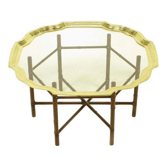 Iron Bamboo-Form Coffee Table With Brass Rimmed Glass Tray - Image 1 of 7