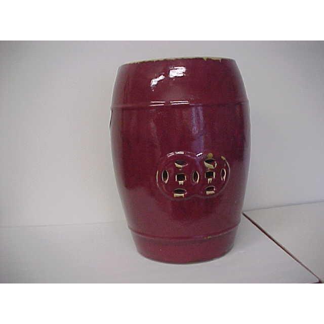 Oxblood Ceramic Garden Stool - Image 2 of 5
