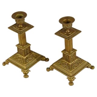 A pair of square cast brass candlesticks from the Belle Epoque period in France c.1890.