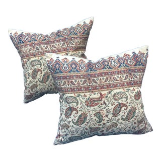 Antique Indian Hand Blocked Paisley Pillows - a Pair