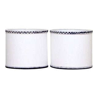 Blue & White Linen Sconce Shades - A Pair