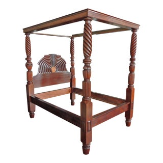 West Indies British Colonial Mahogany Jamaican Waterfall Bed