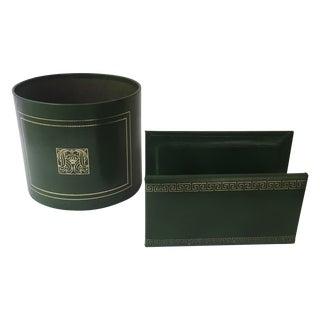 Vintage Green & Gilt Desk Accessories