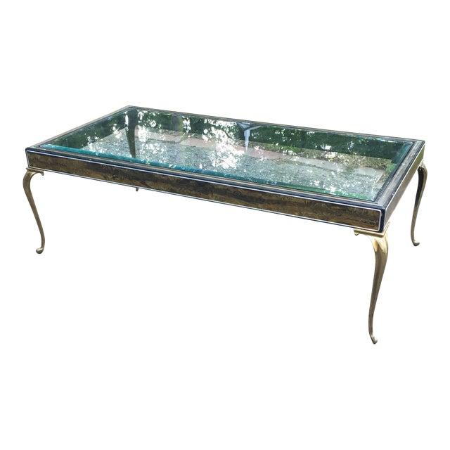 Brutalist Brass Cabriole Leg Coffee Table