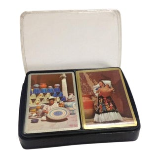Vintage Double-Deck Mexican-Themed Congress Playing Cards in Plastic Case