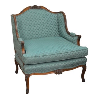 Auffray Custom French Louis XV Style Wide Seat Bergere Canape Chair