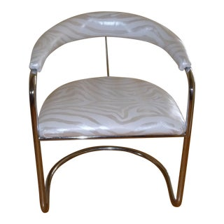 Vintage Thonet Anton Lorenz Chrome Silver Zebra Upholstered Chair