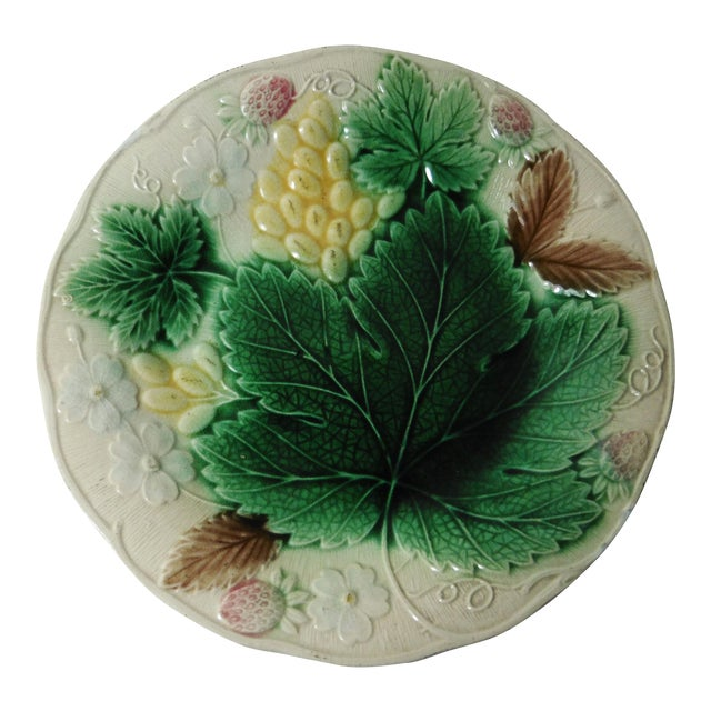 English Majolica Strawberry Plate - Image 1 of 3