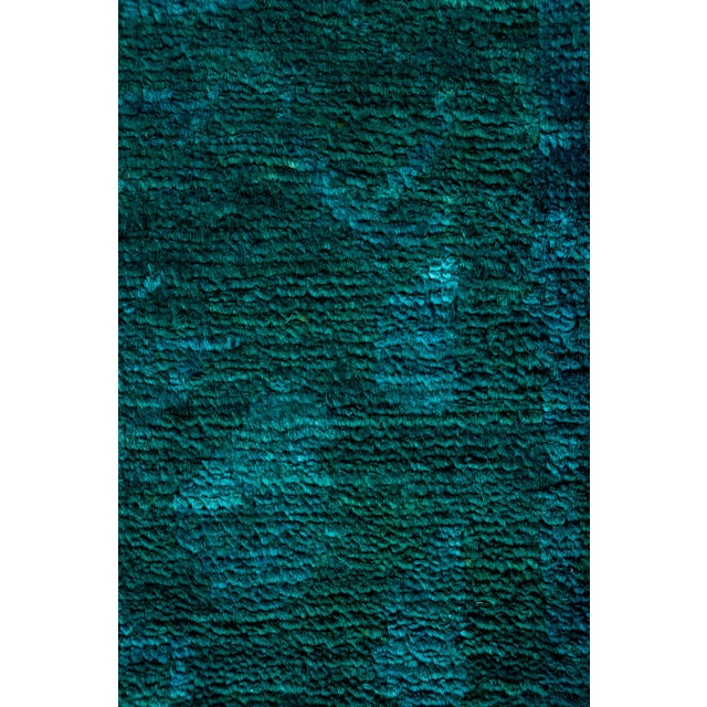 "New Hand-Knotted Turquoise Overdyed Rug - 9'10"" X 13'4"" - Image 3 of 3"