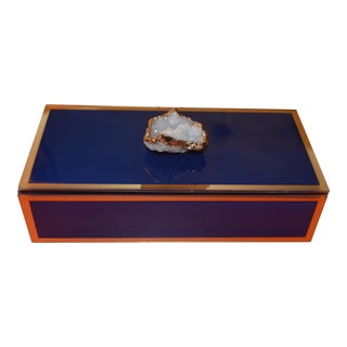 Navy Geode and Glass Trinket Box