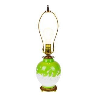 Vintage Noritake Vase Table Lamp with White Cranes Design