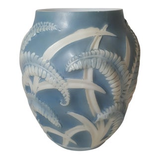 Blue Fern Phoenix Glass Vase