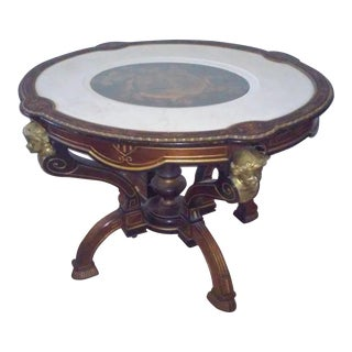 Vintage Table With Inlaid Marble. Vintage   Used Side Tables   Chairish