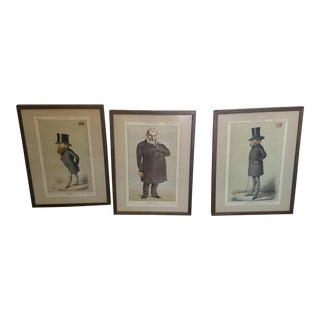 Antique Signed Vanity Fair Magazine Illustrations - Set of 3