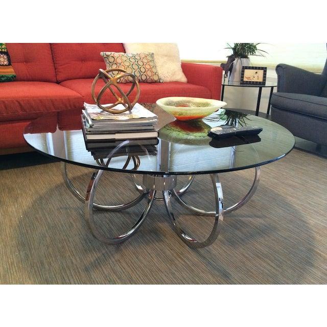 Milo Baughman Chrome Coffee Table: Milo Baughman Chrome Round Coffee Table
