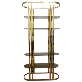 1970s Hollywood Regency Brass Etagere