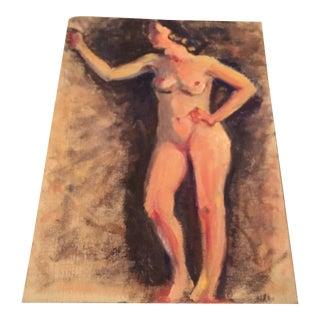 Outsider Art Female Nude Oil on Board