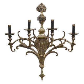 Ornate Gold Colored Four Arm Sconces - A Pair