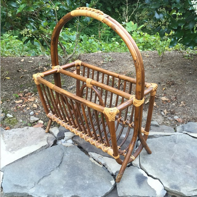 Vintage Rattan Bentwood Magazine Caddy - Image 2 of 6