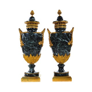 19th C. French Marble Gilt Urns - A Pair