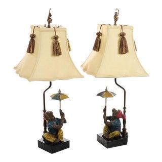 Vintage Monkey Holding Umbrella Lamps - A Pair