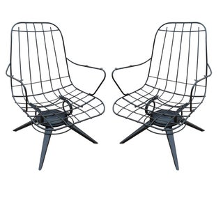 Homecrest Mid-Century Wire Lounge Chairs - A Pair
