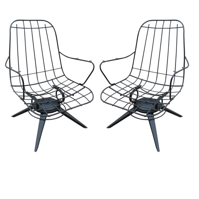 Homecrest Mid Century Wire Lounge Chairs A Pair Chairish