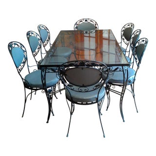 Wrought Iron and Glass Dining Room Set. Vintage   Used Dining Table   Chair Sets   Chairish