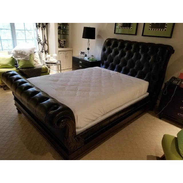 Ralph Lauren Queen Leather Sleigh Bed | Chairish