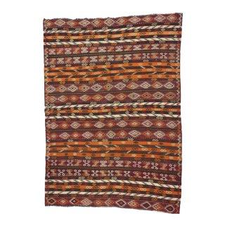 Vintage Handwoven Embroidered Turkish Kilim Rug - 6′11″ × 9′7″