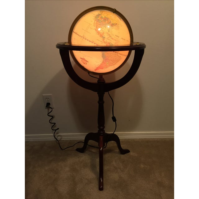 Lighted 12 Quot Fucashun Globe In Wood Floor Stand Chairish