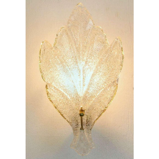 Pair Murano Glass Maple Leaf Wall Sconces - Image 4 of 5