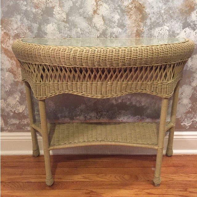 Rattan & Glass Pale Green Half Moon Console Table - Image 2 of 4