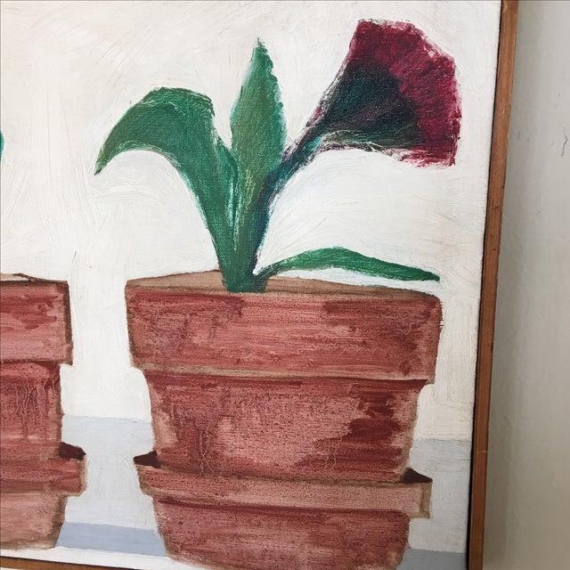Mid-Century Flower Pot Painting - Image 9 of 10