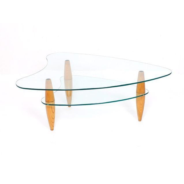 Compact 2-Tier Modernist Glass Coffee Table - Image 1 of 6