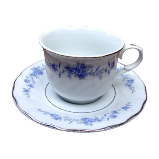 8 Piece Floral Silver Purple Green Tea Coffee Set - 8