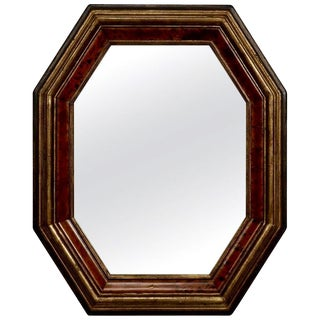 Dutch Octagonal Ebonized and Faux Burr Wood Framed Mirror