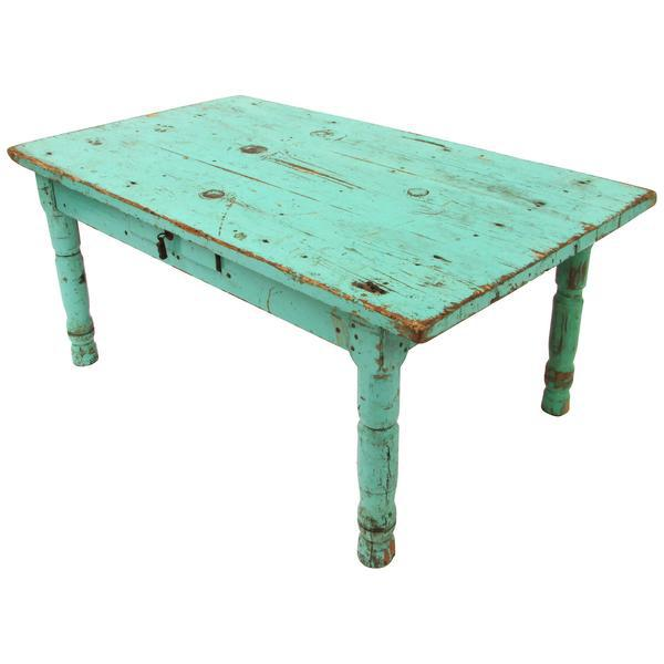 Rustic Mexican Turquoise Painted Coffee Table Chairish