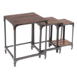 Yosemite Modern Mango Wood & Metal Nesting Table - Set of 3