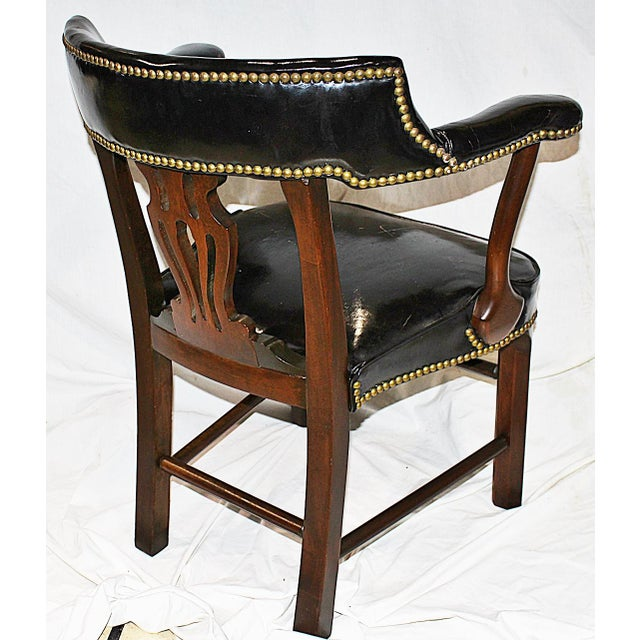 Leather Lyre-Back Lawyer Chairs - Pair - Image 7 of 9