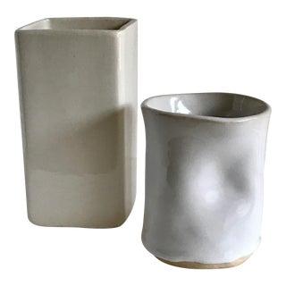 Vintage White Pottery Vases - A Pair
