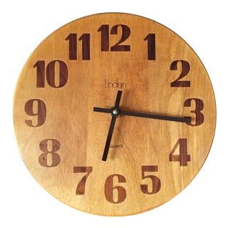 Vintage Mid-Century Modern Linden Wall Clock