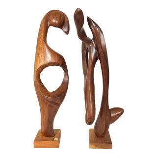 Nelson Morales Modern Teak Sculptures - A Pair