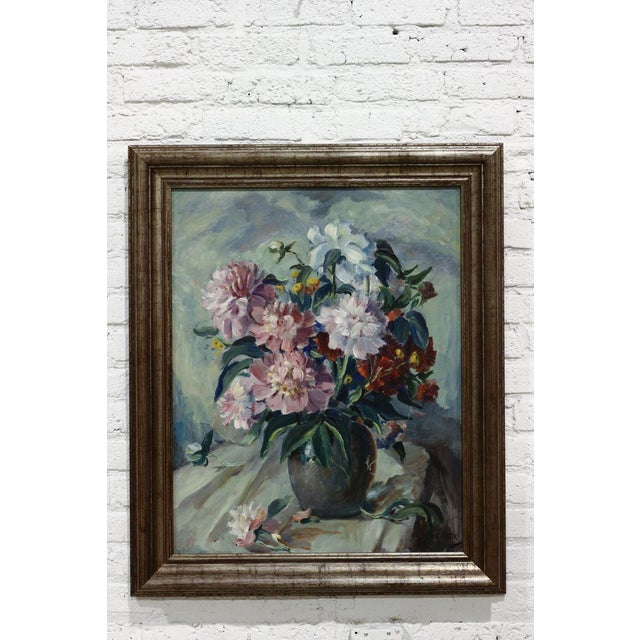 Image of Framed Flowers in a Vase Oil Painting