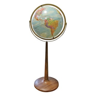 Vintage 1960s Globe on Faux Wood Stand