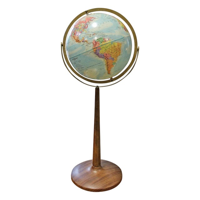 Vintage 1960s Globe on Faux Wood Stand - Image 1 of 3